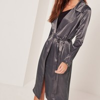 Missguided - Sarah Ashcroft Satin Duster Coat Grey