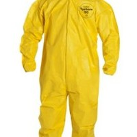 DuPont Tychem QC QC127S Protective Fabric Coverall with Hood and Safety Instructions, Elastic Cuff, X-Large, Yellow (Retail Package of 1)