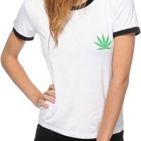 Lunachix Pot Leaf Ringer T-Shirt