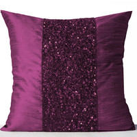 Throw Pillows -Purple Silk Pillows -Purple Sparkle Pillow -Violet Beads Sequin Embroidered Pillow -18x18 -Gift -Sequin Cushions -Wedding