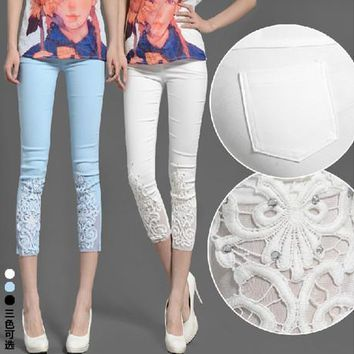 2018 New Summer casual skinny pencil pants lace flower embroidery plus size women trousers white,blue,black M~3XL,4XL