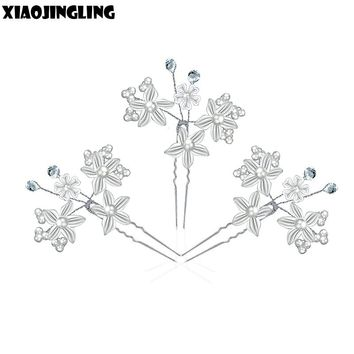 XIAOJINGLING Trendy Bridal Clear Red Crystal Pearl Floral Hair Combs Hairpin Wedding Hair Accessories Handmade Veil Hair Jewelry