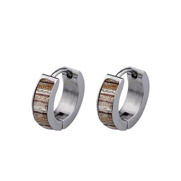 Inlaid Wood Gypsy Earrings and Cufflinks Combo - Perfect Boyfriend Gift - Valentine Day's Gift -