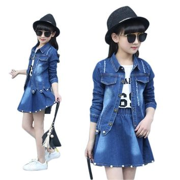 Trendy Girl Clothes 10 12 14 8 6 3 Years Denim Jacket + Skirt 2pcs Clothing For Girls Floral Baby Girl Spring Autumn Clothes Girls Suit AT_94_13