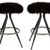 One Kings Lane - House of Honey - Black Faux-Fur Barstools, Pair