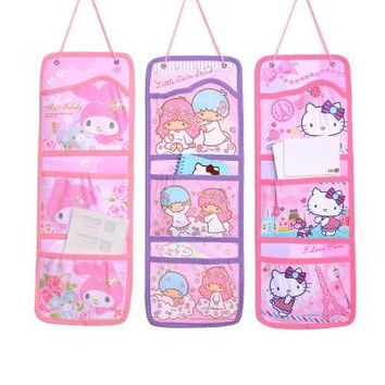 Cute Hello Kitty Wall Pockets Hanging Storage Bag Behind Doors Hang Bags Bathroom Sundries Organizer B45