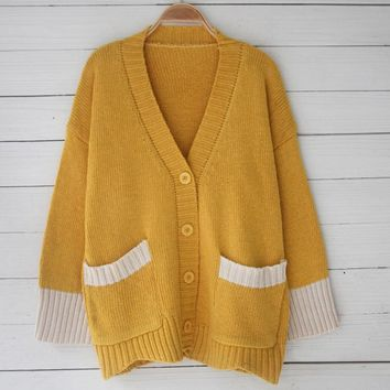 Sweater Knit Tops Winter Long Sleeve With Pocket Jacket [11335930631]