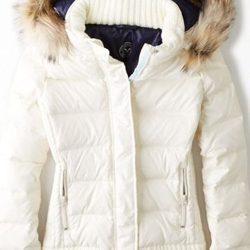 AEO Women's Get Down Hooded Puffer Jacket (Chalk)