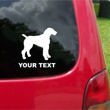German Wirehaired Pointer Dog Sticker Decal with custom text 20 Colors To Choose From.