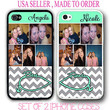 PERSONALIZED CUSTOM PHOTO GREY CHEVRON BEST FRIEND CASE FOR iPhone 6 4S 5 5S 5C