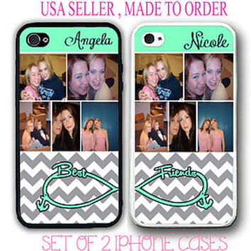 PERSONALIZED CUSTOM PHOTO GREY CHEVRON BEST FRIEND CASE FOR iPhone 6 6S 4 5S 5C