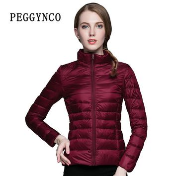 Sping Womens Puffer Coat Pocketable Wine Red Ultra Light Short Bomber Jacket Thermal Polyester Padded Female Coats