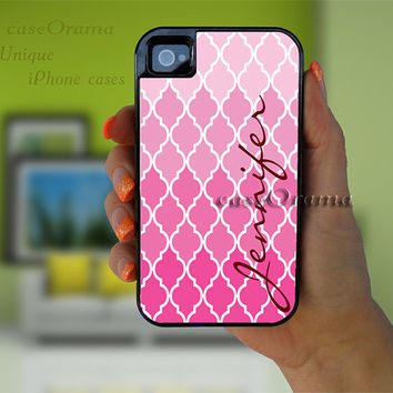 CiJ Sale Tough iPhone 4/4S / iPhone 5 case with rubber lining- Pink Quatrefoil Monogrammed  iPhone 4/5 hard case, 2 piece rubber lining case