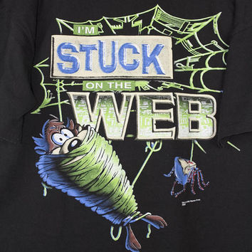 vintage 90s looney tunes internet shirt - taz - stuck on the web - all over print