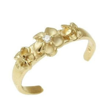 SOLID 14K YELLOW GOLD 3 HAWAIIAN PLUMERIA FLOWERS TOE RING CZ