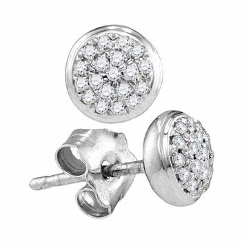 10kt White Gold Women's Round Diamond Concentric Cluster Screwback Earrings 1-10 Cttw - FREE Shipping (USA/CAN)
