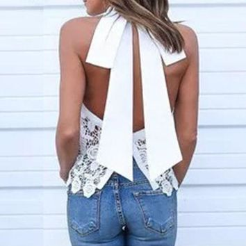 CREYU3C 2016 Summer Sexy Women Blusas Lace Floral Crochet Blouses Tops Casual Turtleneck Retro Sleeveless Backless Bow White Shirts Top