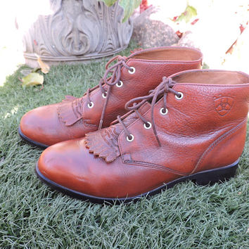 Ariat roper boots / US size 6.5 EUR 36.5 / brown leather Ariat lace up ankle boots / western boho boots / SunnyBohoVintage