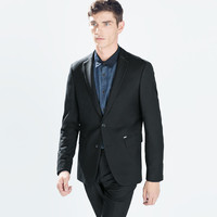 Blazer with contrasting collar