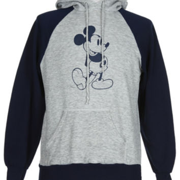 80s Grey & Navy Disney Mickey Mouse Hoody | Sweats & Hoodies | Rokit Vintage Clothing