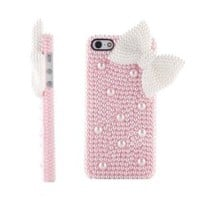 OOOUSE New Luxury Cute 3D Bling Diamond Pearl Bow Butterfly Back Case Cover Skin For iPhone 5 5G 5th