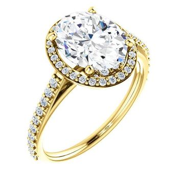 2.0 Ct Oval Halo-style Diamond Engagement Ring 14k Yellow Gold