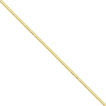 14K Yellow Gold 2.20mm Flat Beveled Curb Chain Necklace - Fine Jewelry Gift