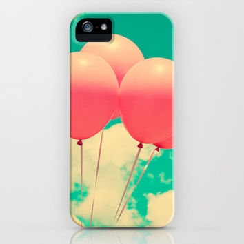 Summer Pink Balloons on Turquoise Sky  iPhone & iPod Case by Andrea Caroline