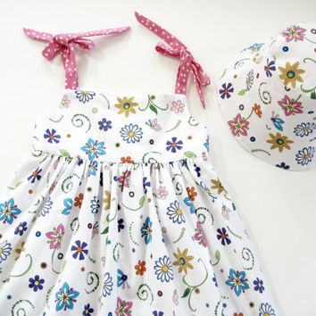 Girls sundress size 4 size 5 dress with reversible sunhat 4T sun dress girls outfit summer dress girls hat reversible hat pink floral dress