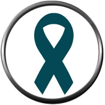 Ovarian Cancer Teal Awareness Ribbon Support Believe Find Cure 18MM - 20MM Snap Jewelry Charm New Item