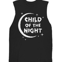Child of the Night Sleeveless Tee<br><font color=#bbbbbb>White on Black</font><br><strike><font color=#FF0000 >$34.00</font></strike>