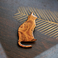 Cat brooch with Indian paisley pattern by CitrusCat on Etsy