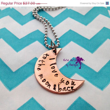 SALE Copper Crescent Moon Pendant Personalized Necklace Moon Jewelry I love you to the moon and back Necklace Girlfriend Gift Mothers Day Gi