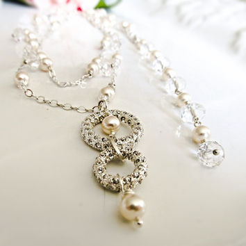 Wedding jewelry set, Bridal jewelry set, back drop necklace earrings, rhinestone necklace, crystal necklace, white pearl silver jewelry set