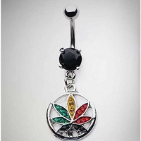 CZ Rasta Leaf Dangle Belly Ring - 14 Gauge - Spencer's
