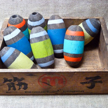 Painted Nautical Wood Floats Fishing Corks, Stripes, Striped Vintage, Wooden Decor, Decorative Cedar Floats, Scandinavian Art