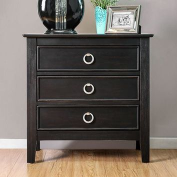 Arabelle Transitional Night Stand In Black