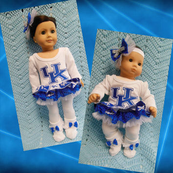 American girl doll clothes Bitty Baby doll clothes University of Kentucky Wildcats (18 inch or 15 inch) cheerleader dress  hair clip