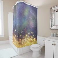 Glam Gold and Blue Galaxy Space Shower Curtain