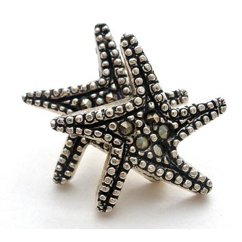 Star Earrings with Marcasites Vintage