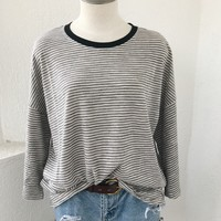 SUPER OVERSIZE TEE-GREY STRIPE