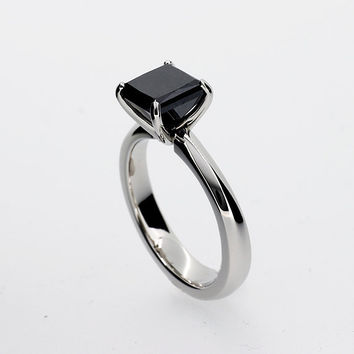 Princess cut Black spinel solitaire engagement ring made from white gold, black  engagement ring, simple, black spinel, gothic, square