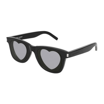 Saint Laurent Square Acetate Heart-Lens Sunglasses, Black