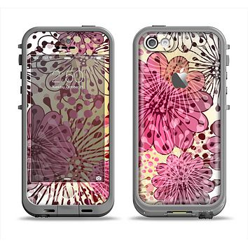 The Colorful Translucent Water-Flowers Apple iPhone 5c LifeProof Fre Case Skin Set