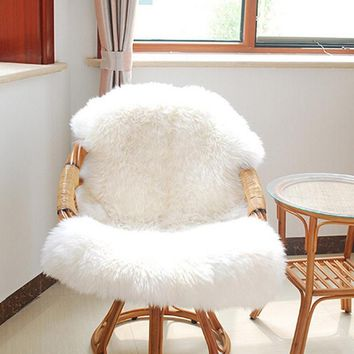 Soft Sheepskin Chair Cover Warm Hairy Carpet Seat Pad Plain Skin Fur Plain Fluffy Area Rugs Washable Bedroom Faux Mat