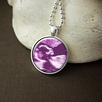 Custom Baby Girl Ultrasound Necklace,  Sonogram Gift - Your Baby's First Portriat On A Glass Pendant Necklace