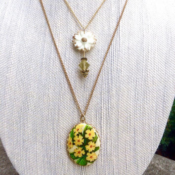 Double Strand Necklace, Two Strand Necklace, Double Layer Necklace, Flower Necklace, Flower Jewelry, Flower Pendant, Flower, Crystal