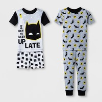 Toddler Boys' Batman 4pc Pajama Set - Black
