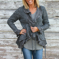 Bundled Up With You Ruffled Cardigan With Stitching ~ Gray ~ Sizes 4-10