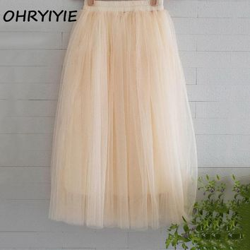 OHRYIYIE Tulle Skirts Women Summer Casual High Waist Long Skirt Elastic Waist Sun Fluffy Tutu Skirt Jupe Longue Femme S1003